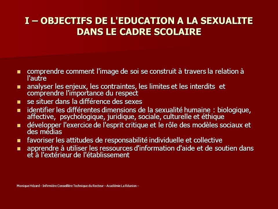 I – OBJECTIFS DE L EDUCATION A LA SEXUALITE DANS LE CADRE SCOLAIRE