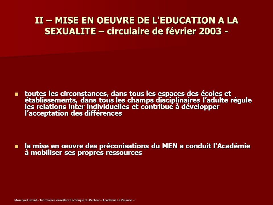 II – MISE EN OEUVRE DE L EDUCATION A LA SEXUALITE – circulaire de février 2003 -