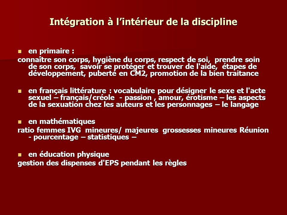 Intégration à l'intérieur de la discipline