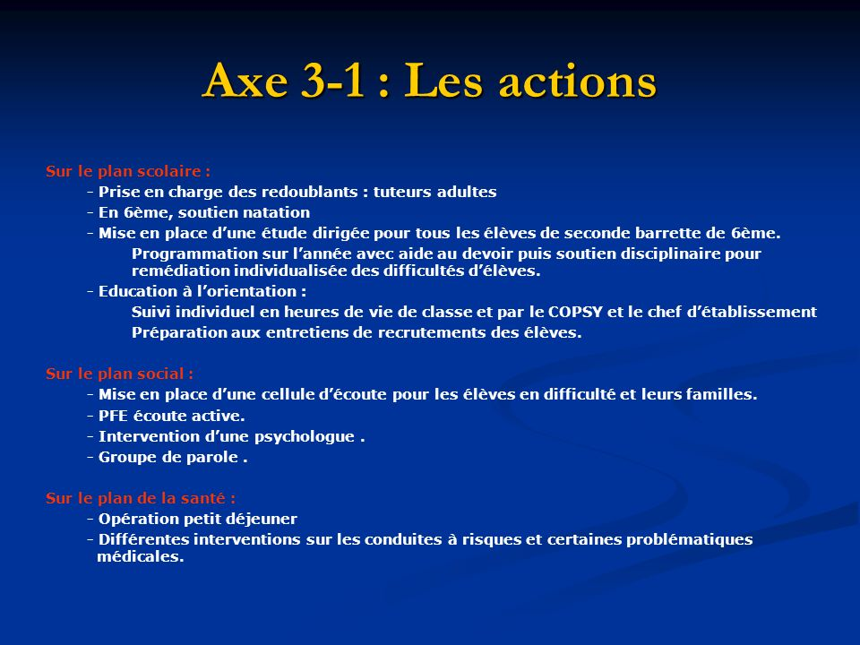 Axe 3-1 : Les actions Sur le plan scolaire :