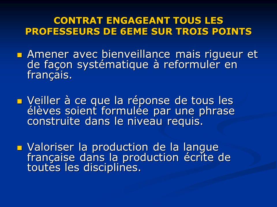 CONTRAT ENGAGEANT TOUS LES PROFESSEURS DE 6EME SUR TROIS POINTS