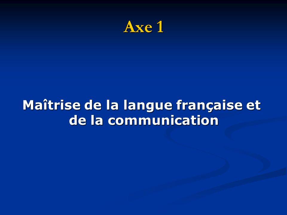 Maîtrise de la langue française et