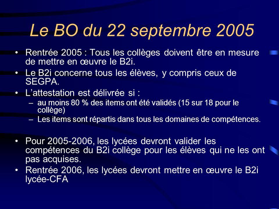 Le BO du 22 septembre 2005 Rentrée 2005 : Tous les collèges doivent être en mesure de mettre en œuvre le B2i.