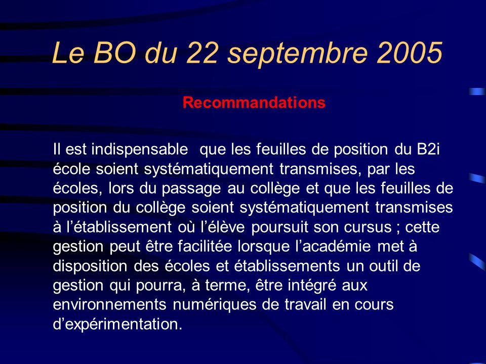 Le BO du 22 septembre 2005 Recommandations