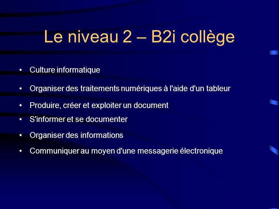 Le niveau 2 – B2i collège Culture informatique
