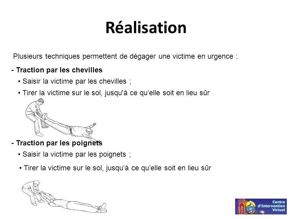 RéalisationPlusieurs techniques permettent de dégager une victime en urgence : - Traction par les chevilles.
