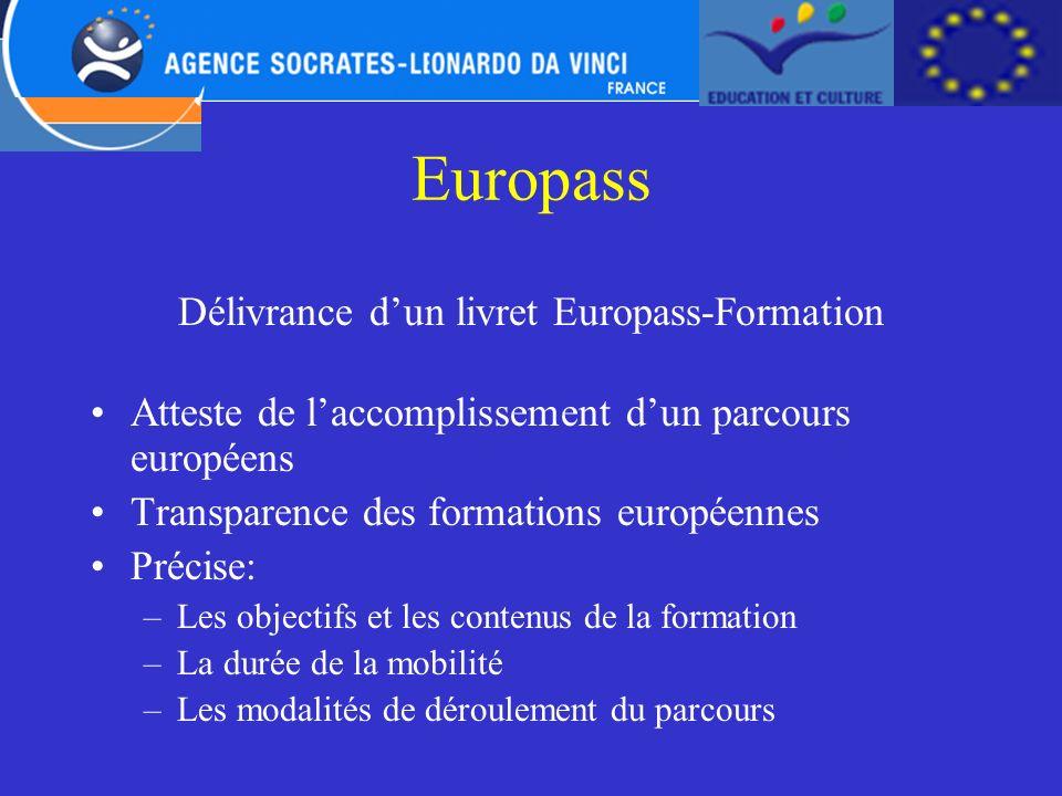 Délivrance d'un livret Europass-Formation