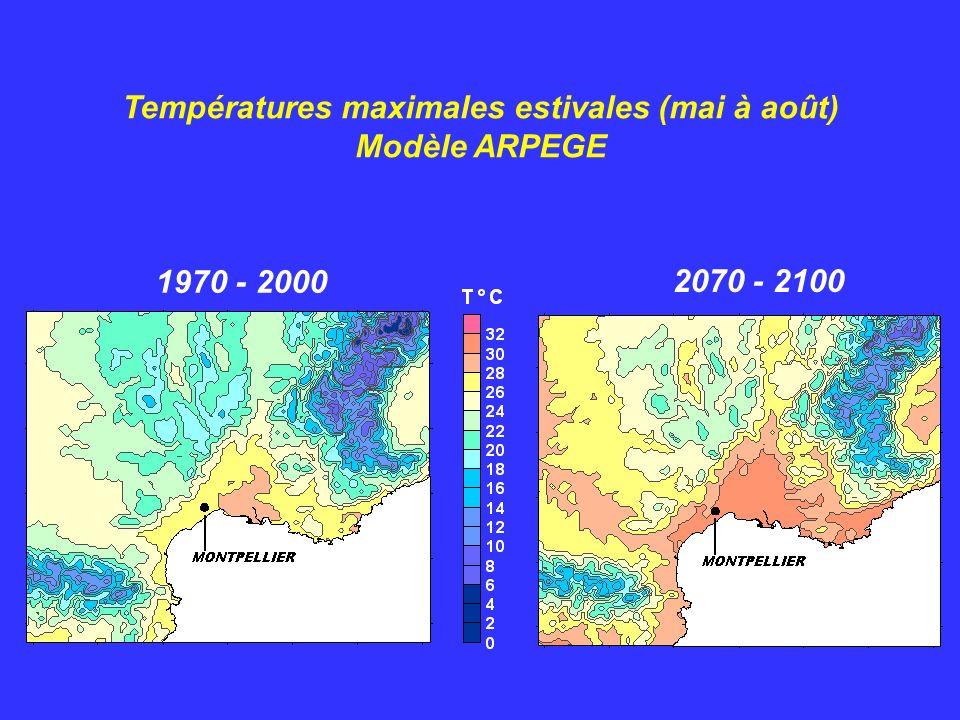 Températures maximales estivales (mai à août)