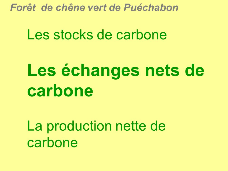 Les échanges nets de carbone