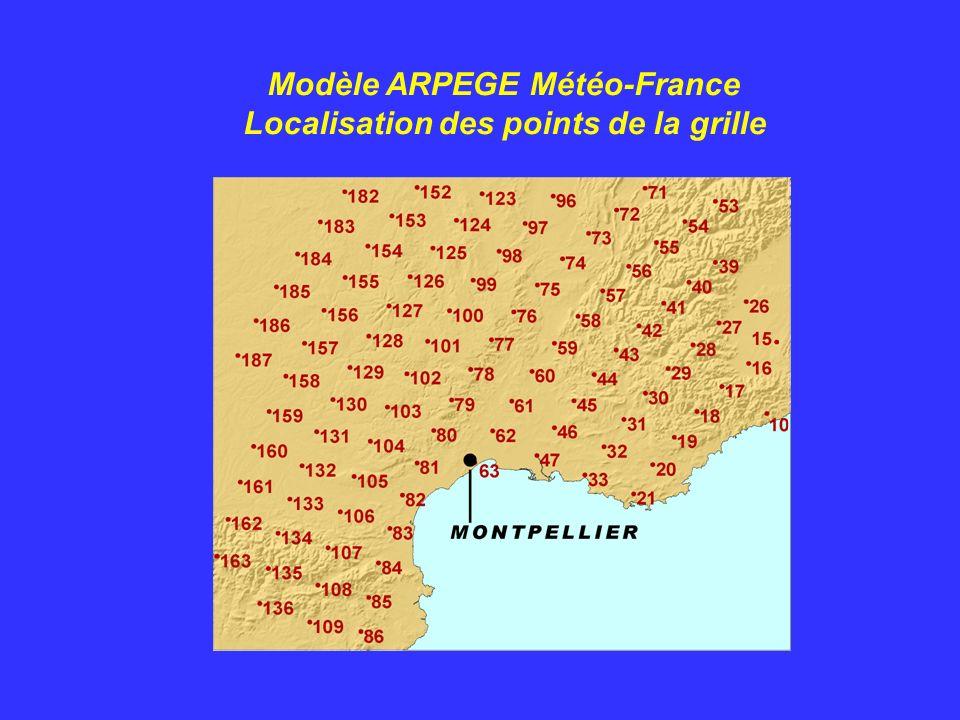 Modèle ARPEGE Météo-France Localisation des points de la grille