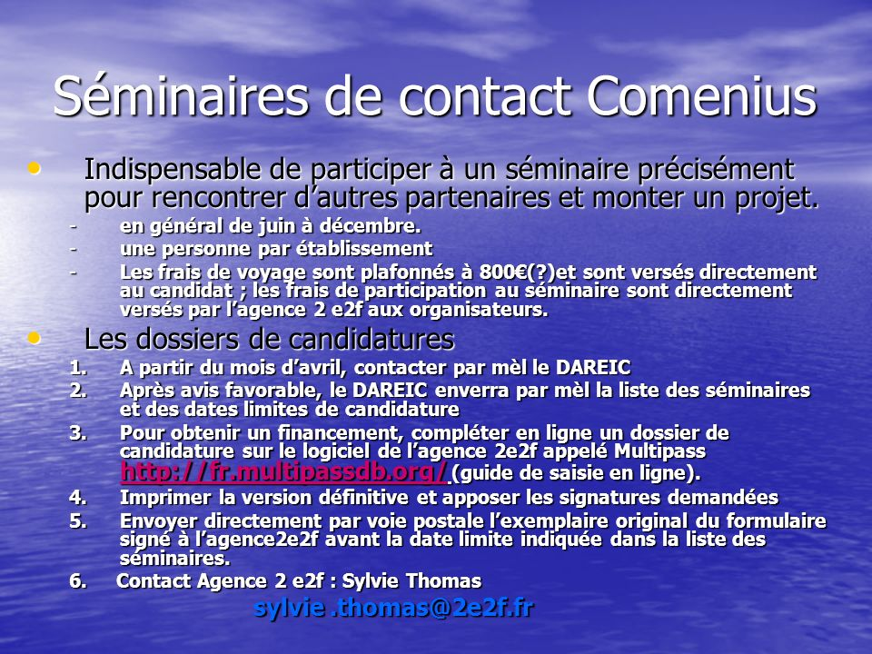 Séminaires de contact Comenius