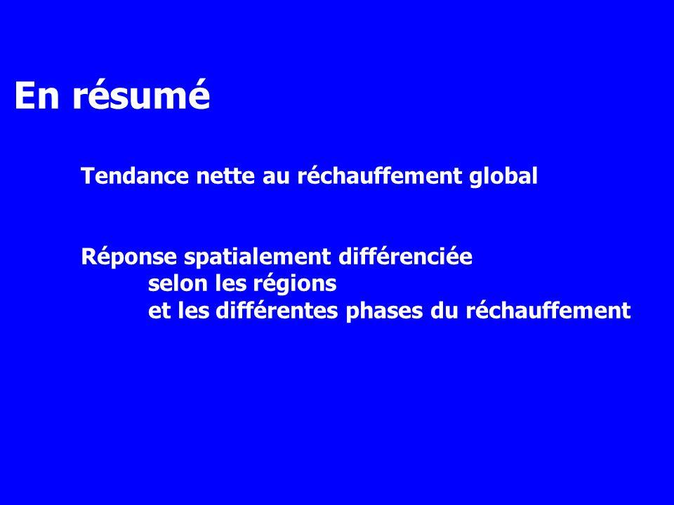 En résumé Tendance nette au réchauffement global