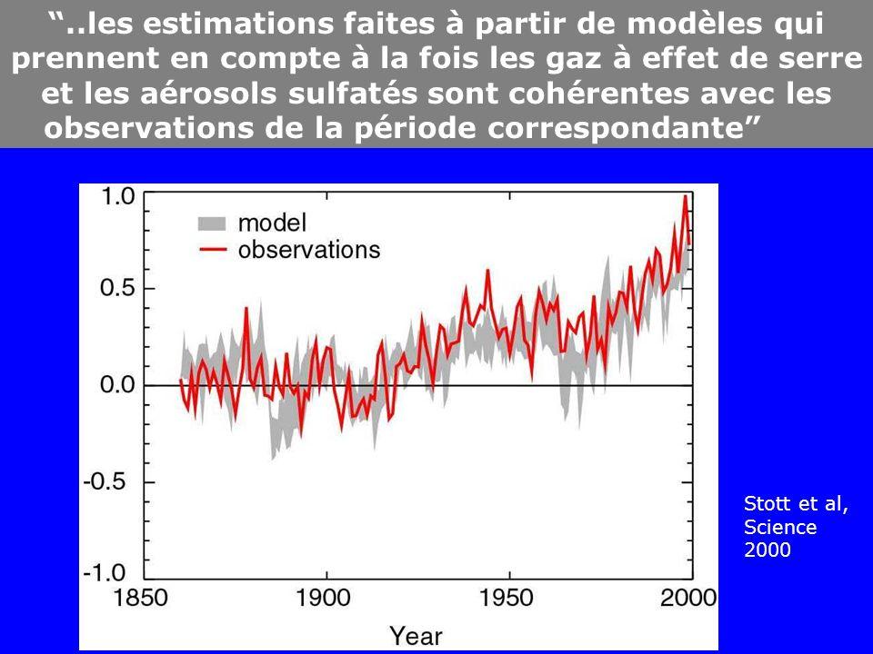 ..les estimations faites à partir de modèles qui prennent en compte à la fois les gaz à effet de serre et les aérosols sulfatés sont cohérentes avec les observations de la période correspondante