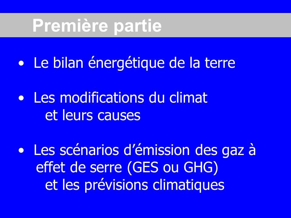 Première partie Le bilan énergétique de la terre
