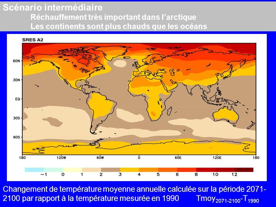 Scénario intermédiaire. Réchauffement très important dans l'arctique