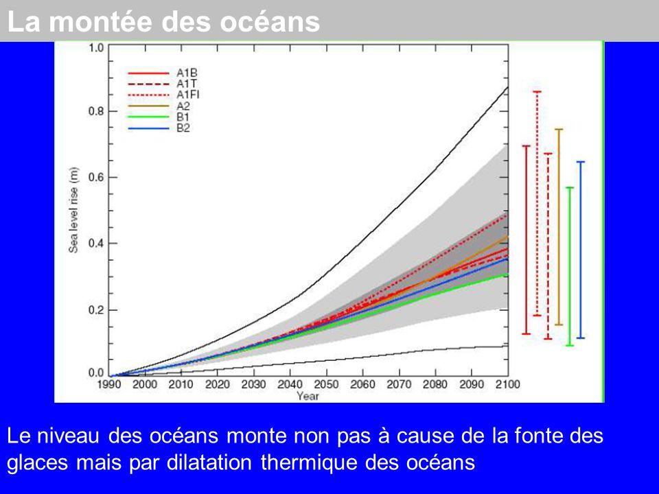 La montée des océans Le niveau des océans monte non pas à cause de la fonte des glaces mais par dilatation thermique des océans.