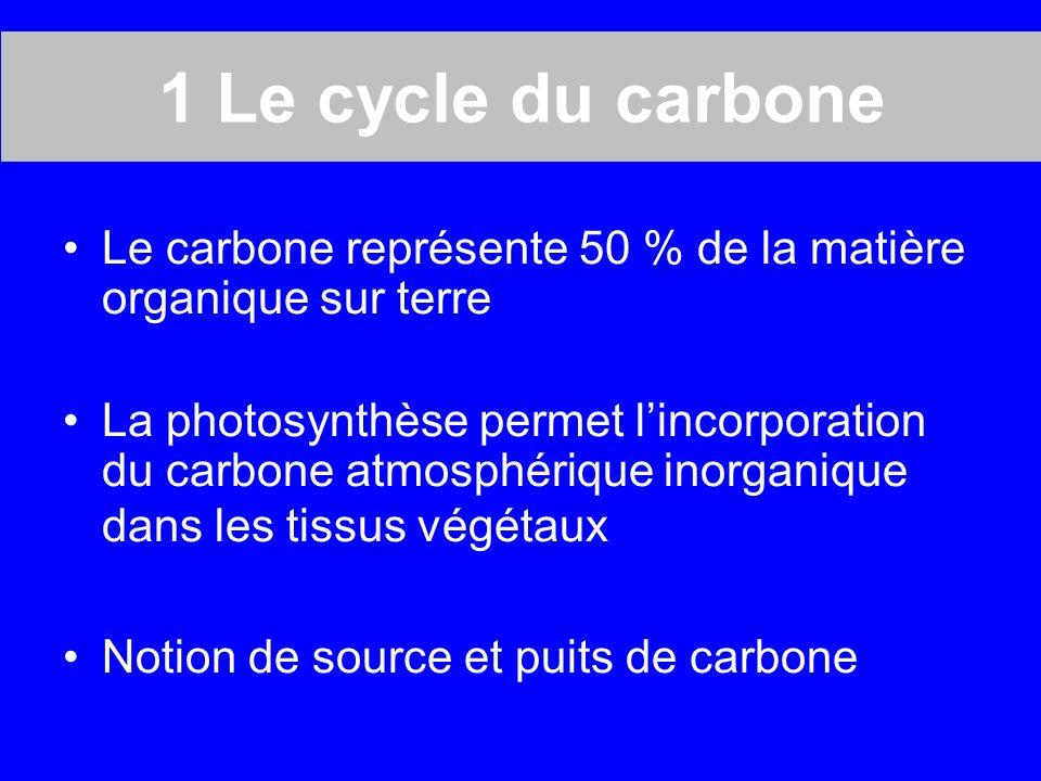 1 Le cycle du carbone Le carbone représente 50 % de la matière organique sur terre.