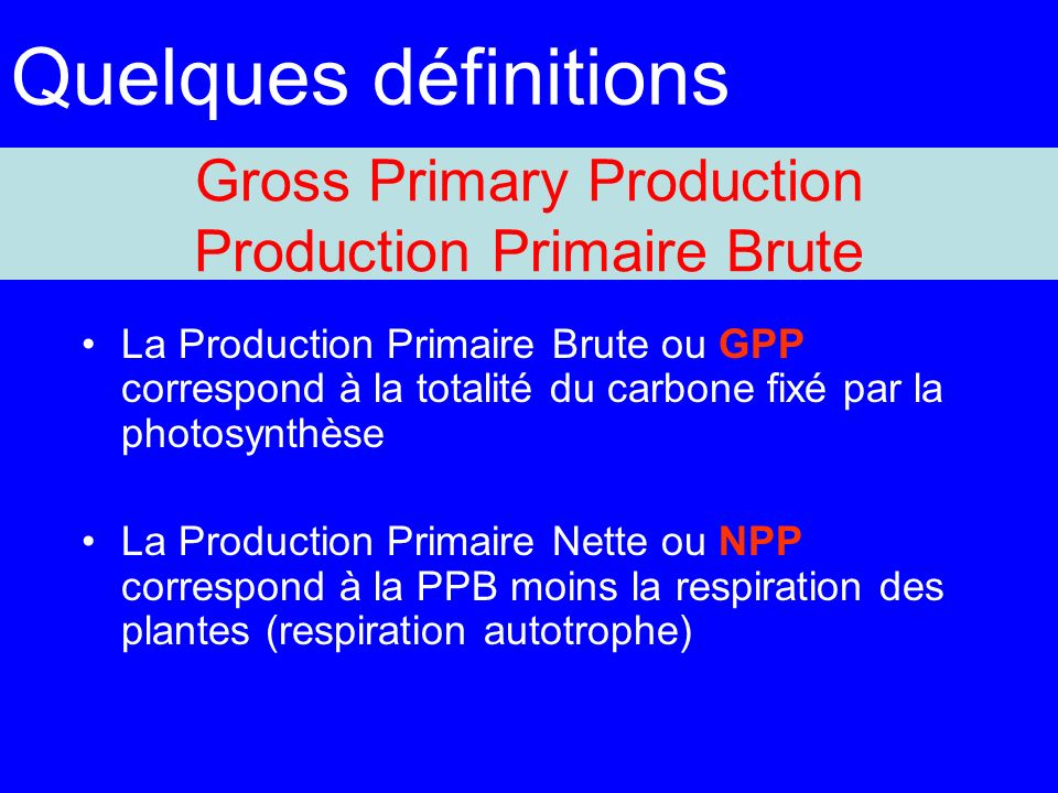 Gross Primary Production Production Primaire Brute