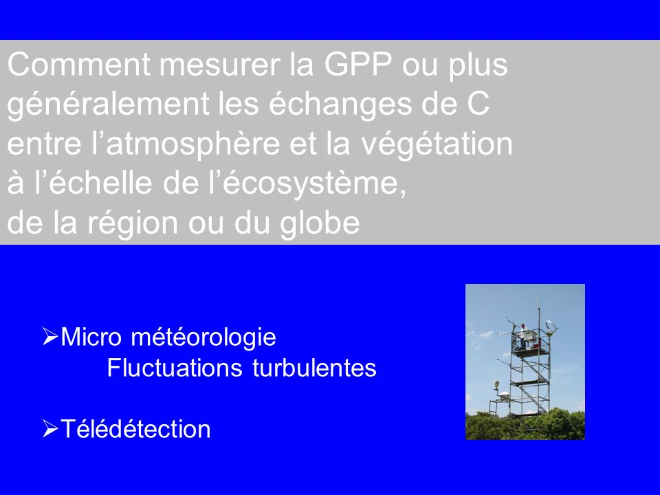 Comment mesurer la GPP ou plus généralement les échanges de C
