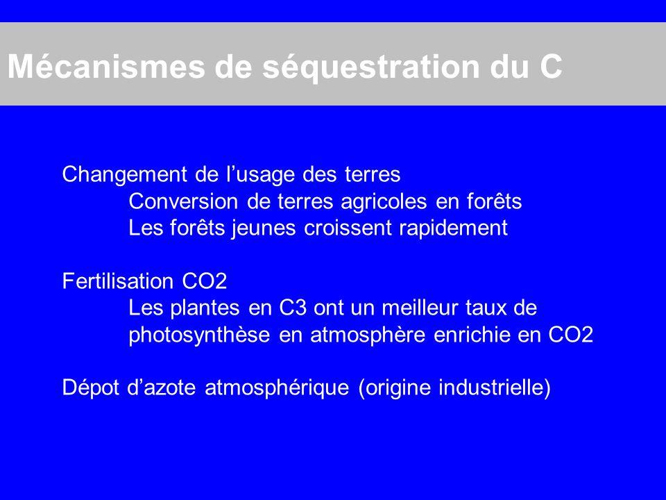 Mécanismes de séquestration du C
