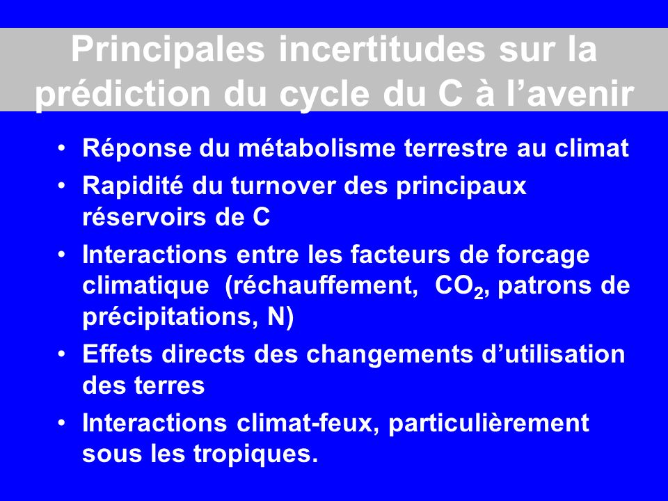 Principales incertitudes sur la prédiction du cycle du C à l'avenir