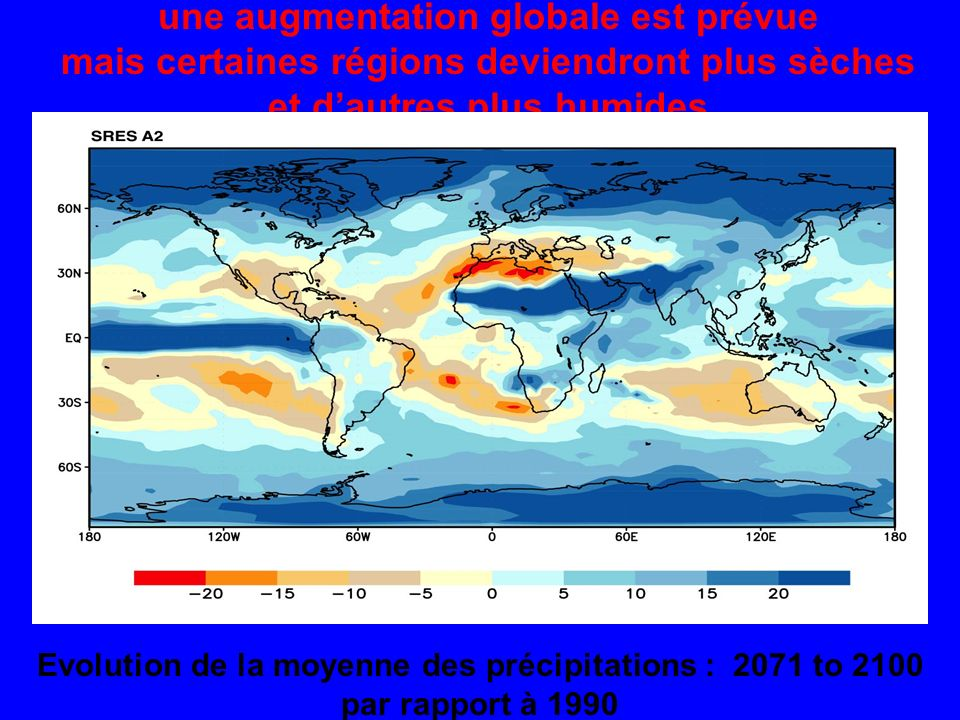 Evolution de la moyenne des précipitations : 2071 to 2100