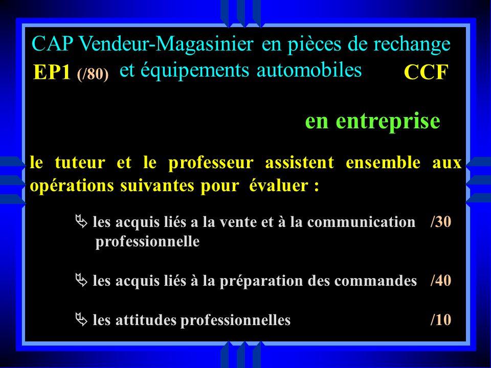 en entreprise CAP Vendeur-Magasinier en pièces de rechange