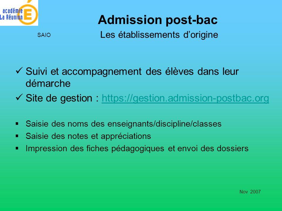 Admission post-bac Les établissements d'origine