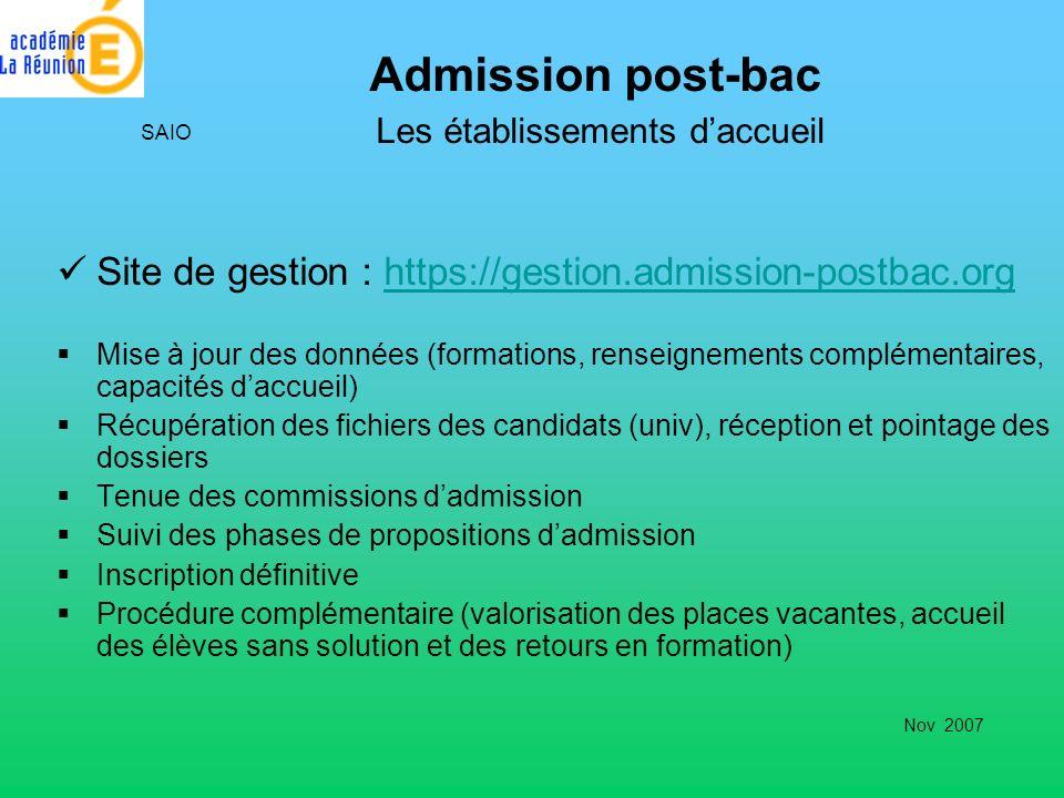 Admission post-bac Les établissements d'accueil