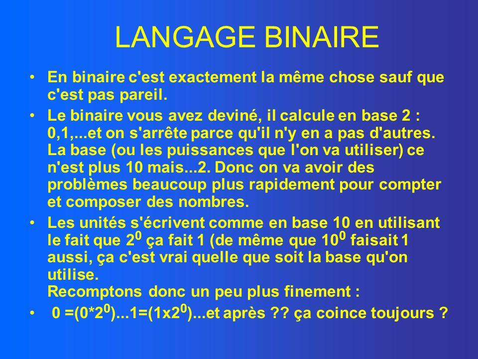 LANGAGE BINAIRE En binaire c est exactement la même chose sauf que c est pas pareil.