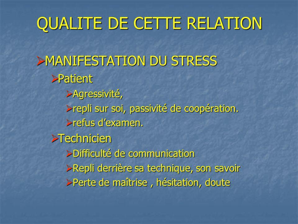 QUALITE DE CETTE RELATION