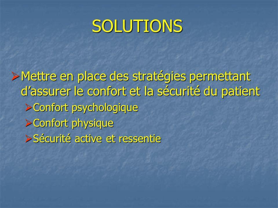 SOLUTIONS Mettre en place des stratégies permettant d'assurer le confort et la sécurité du patient.