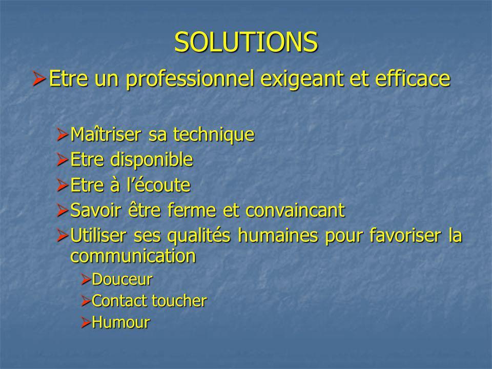 SOLUTIONS Etre un professionnel exigeant et efficace