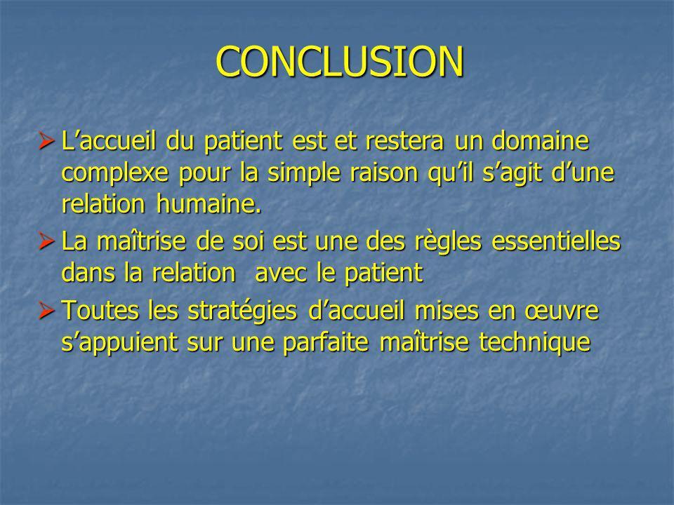 CONCLUSION L'accueil du patient est et restera un domaine complexe pour la simple raison qu'il s'agit d'une relation humaine.