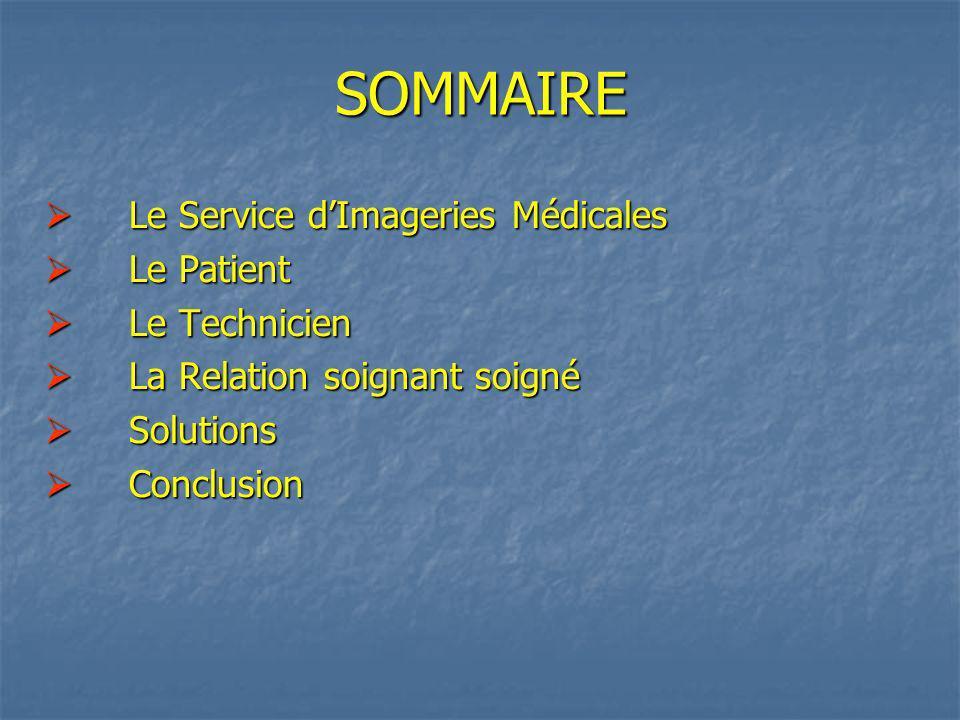 SOMMAIRE Le Service d'Imageries Médicales Le Patient Le Technicien