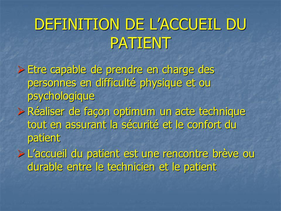 DEFINITION DE L'ACCUEIL DU PATIENT