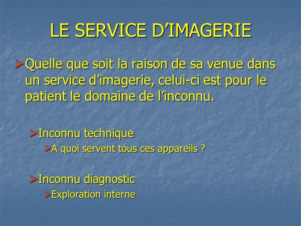 LE SERVICE D'IMAGERIE Quelle que soit la raison de sa venue dans un service d'imagerie, celui-ci est pour le patient le domaine de l'inconnu.