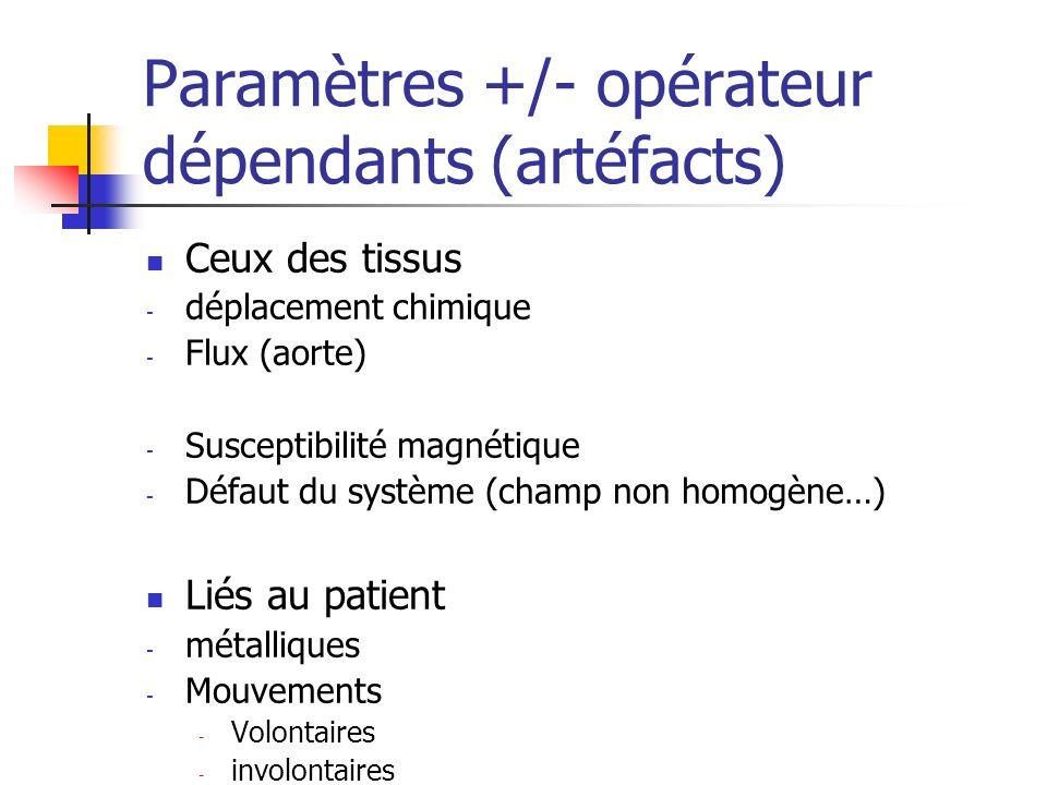 Paramètres +/- opérateur dépendants (artéfacts)