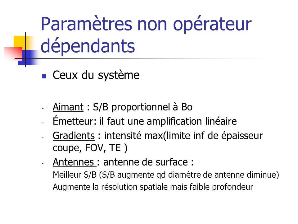 Paramètres non opérateur dépendants