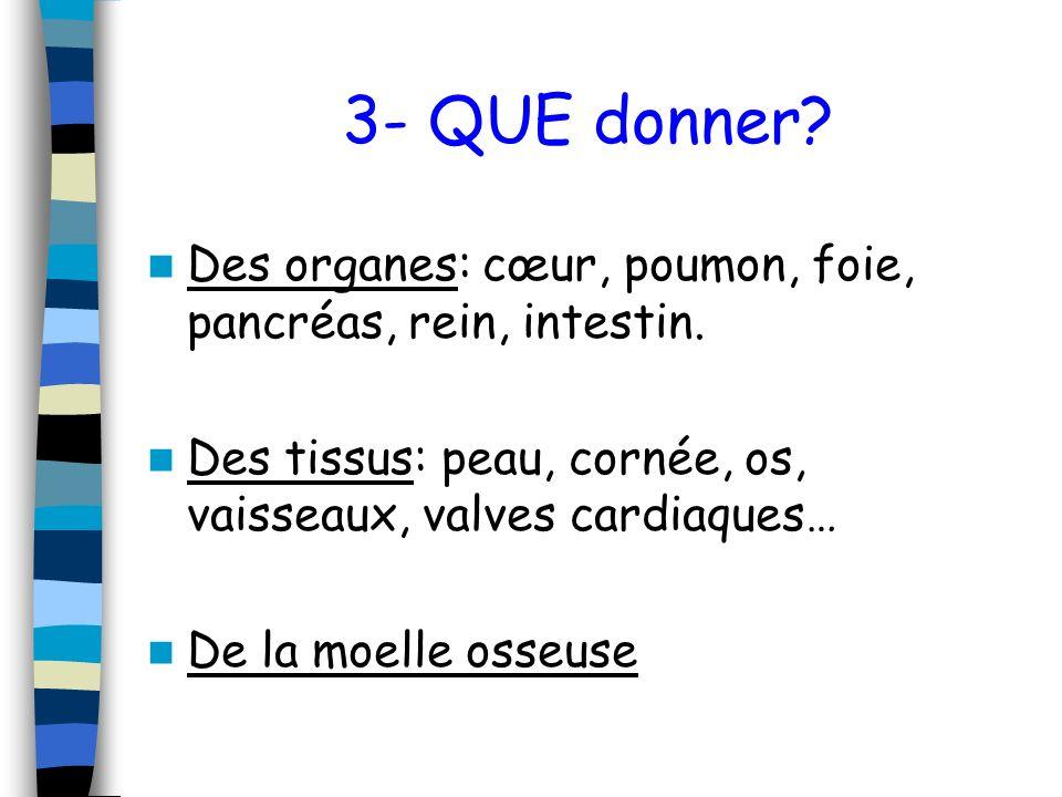 3- QUE donner Des organes: cœur, poumon, foie, pancréas, rein, intestin. Des tissus: peau, cornée, os, vaisseaux, valves cardiaques…