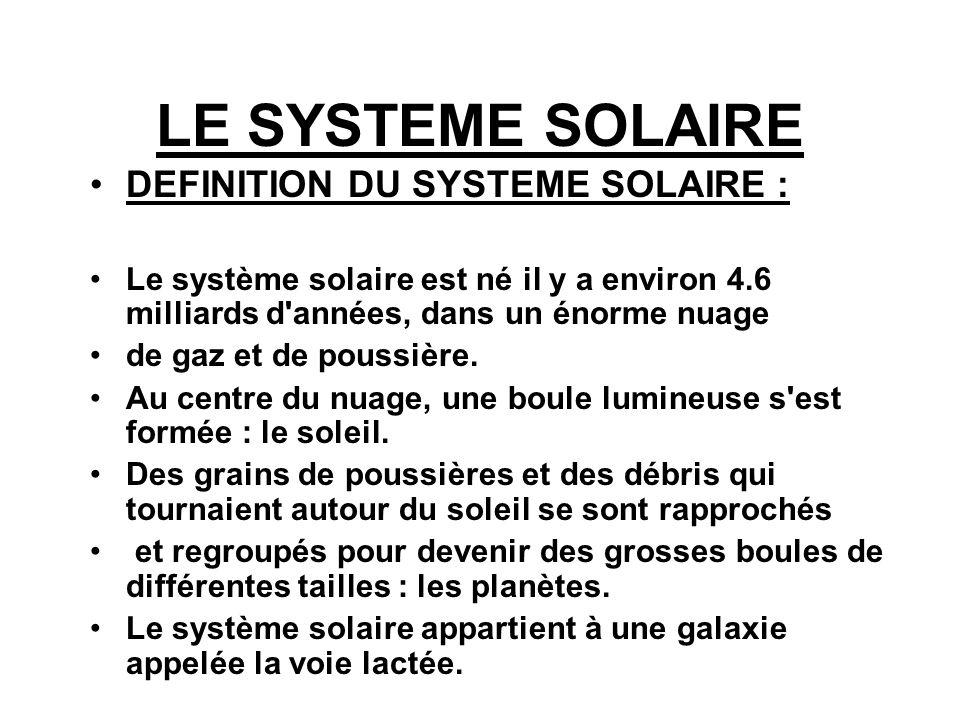 LE SYSTEME SOLAIRE DEFINITION DU SYSTEME SOLAIRE :