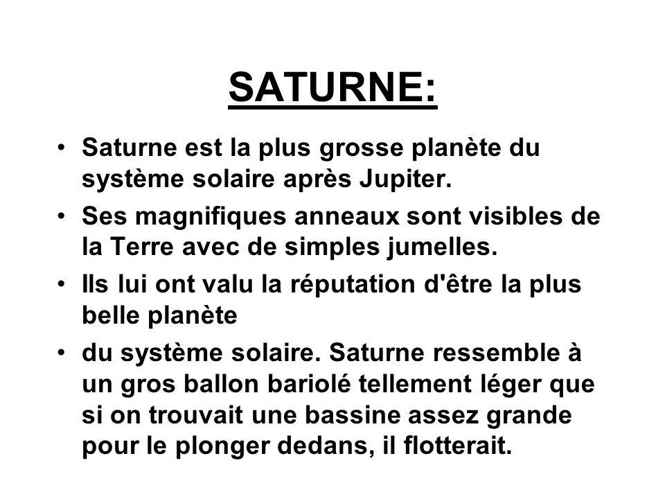 SATURNE:Saturne est la plus grosse planète du système solaire après Jupiter.