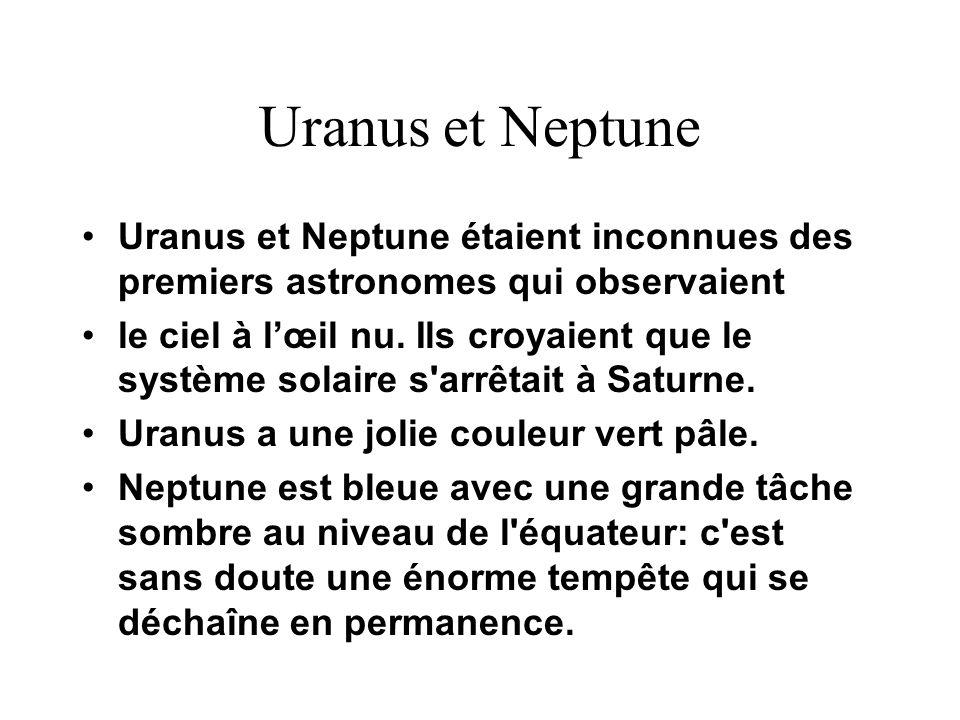 Uranus et NeptuneUranus et Neptune étaient inconnues des premiers astronomes qui observaient.