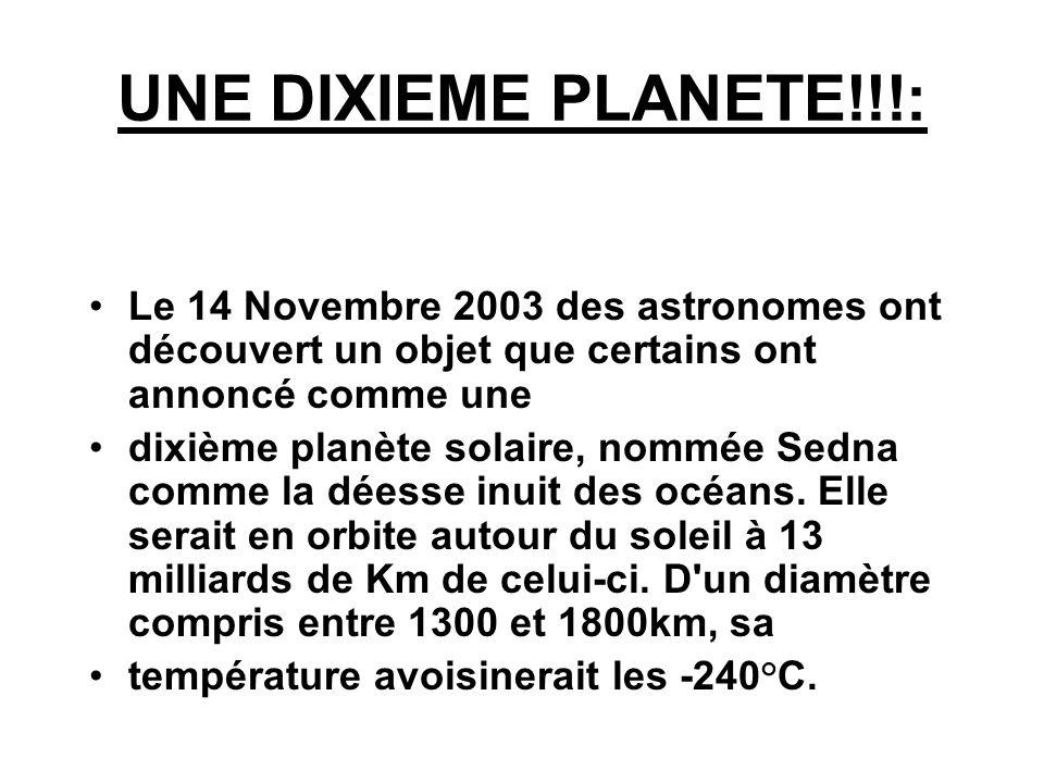 UNE DIXIEME PLANETE!!!:Le 14 Novembre 2003 des astronomes ont découvert un objet que certains ont annoncé comme une.