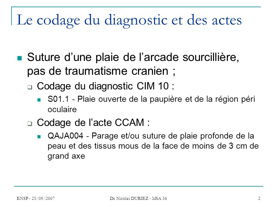 Le codage du diagnostic et des actes