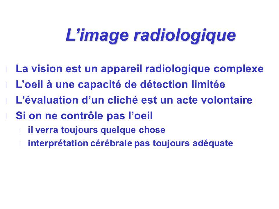 L'image radiologique La vision est un appareil radiologique complexe