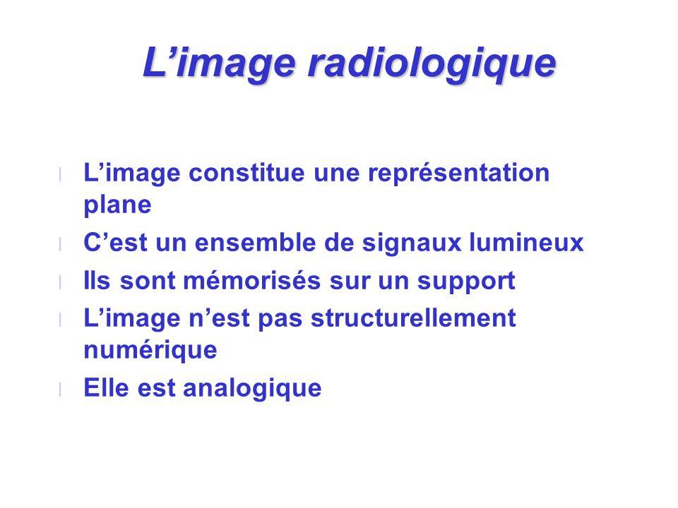 L'image radiologique L'image constitue une représentation plane