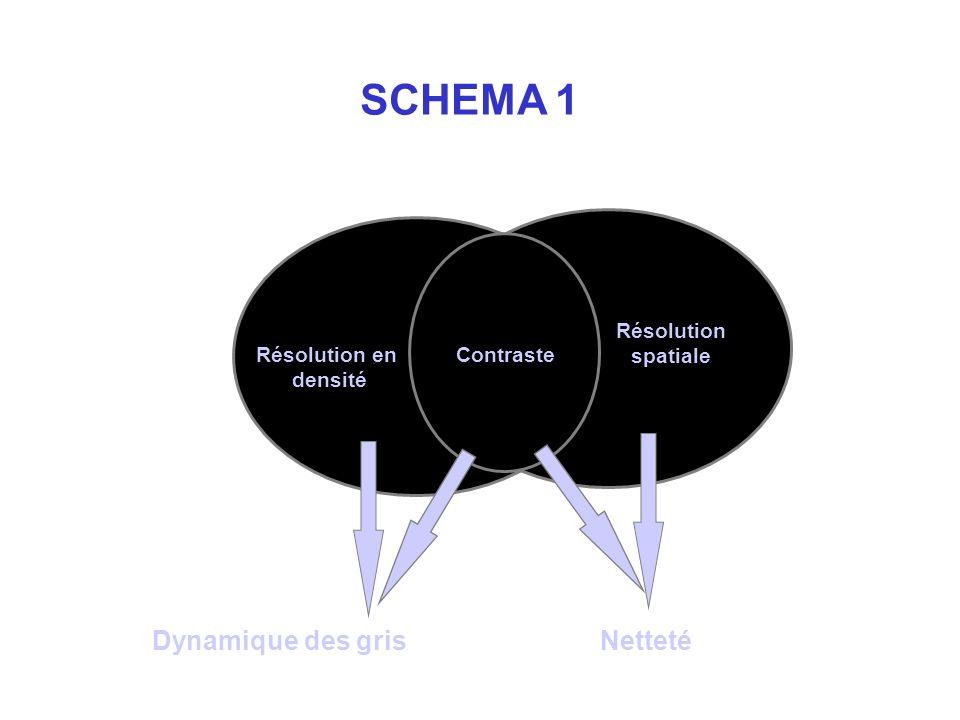 SCHEMA 1 Dynamique des gris Netteté Résolution spatiale Résolution en