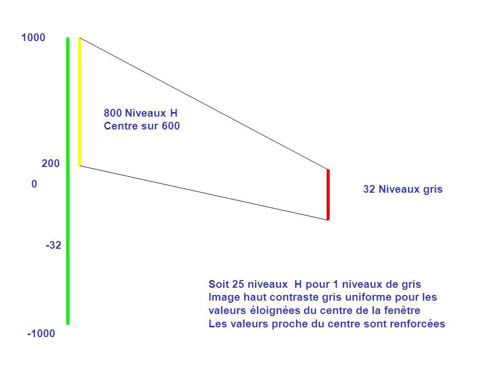 1000 800 Niveaux H. Centre sur 600. 200. 32 Niveaux gris. -32. Soit 25 niveaux H pour 1 niveaux de gris.