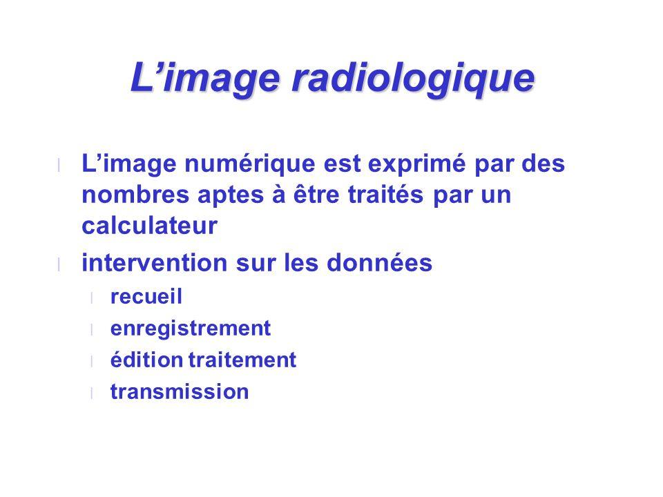 L'image radiologique L'image numérique est exprimé par des nombres aptes à être traités par un calculateur.